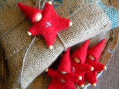 Waldorf Star Baby Ornament, Angora, Red, Upcycled wool, Eco Holiday Ornament