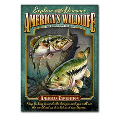 American Expedition Largemouth Bass Tin Cabin Sign