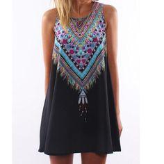 Loose Round Neck Sleeveless Printed Dress