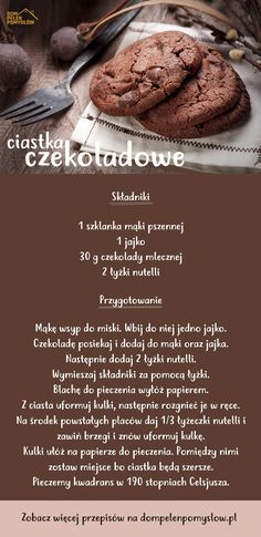 Przepis na ciastka czekoladowe Helathy Food, Pin On, Easy Snacks, Diy Food, No Cook Meals, Love Food, Food Inspiration, Sweet Recipes, Food Porn