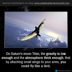On Saturn's moon Titan, you could fly like a bird - The Memes Factory - - On Saturn's moon Titan, you could fly like a bird – The Memes Factory Life Hacks Die Meme-Fabrik Auf dem Saturnmond Titan können Sie wie ein Vogel fliegen The More You Know, Good To Know, Did You Know, Astronomy Facts, Space And Astronomy, Wow Facts, Wtf Fun Facts, Fascinating Facts, Crazy Facts
