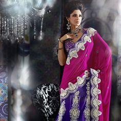 Rani Pink and Purple Faux Chiffon Lehenga Style Saree with Blouse