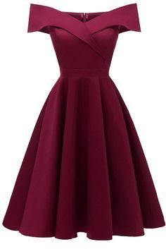 285e199cde9 Off The Shoulder Foldover Cocktail Dress - Deep Blue Red Wine (Off The  Shoulder Foldover Cocktail Dress