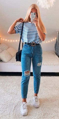 Girls Fashion Clothes, Teen Fashion Outfits, Retro Outfits, Look Fashion, Teenage Girls Fashion, Vintage Outfits, Summer Fashion For Teens, Teenage Girl Outfits, Trendy Fall Outfits