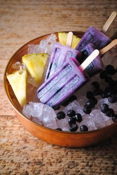 Pineapple Blueberry Popsicles