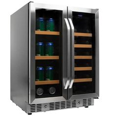 EdgeStar 24 Inch Wide Wine and Beverage Cooler with French Doors Stainless Steel Refrigerators Beverage Center Wine and Beverage