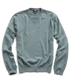 Garment Dyed Crewneck Sweater in Washed Olive