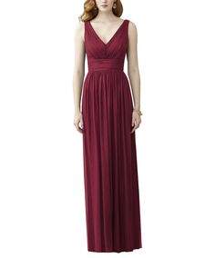 DescriptionDessy Style 2955Full length bridesmaid dressV Neck dressShirred bodiceLow back with shirred tailsLux chiffon