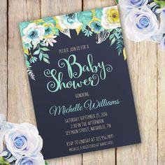 Blue Flower Baby shower invitation template