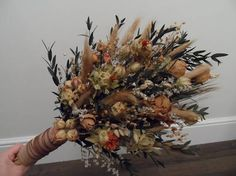 Items similar to Dried flower wedding bouquet, rustic, country, sheaf on Etsy Dried Flower Bouquet, Flower Bouquet Wedding, Dried Flowers, Wreaths, Rustic, Country, Fall, Handmade Gifts, Etsy