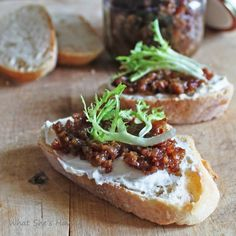 I hate Bacon but, I LOVE this bacon jam. It is amazing on a crustini with goat cheese