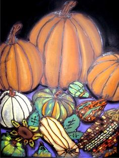 Artsonia Art Museum. Fall Still-life. pumpkins. gourds. chalk. glue. blending colors