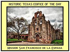 Mission San Francisco de la Espada in San Antonio, Texas. Founded in 1690 as San Francisco de los Tejas near present-day Weches, Texas, this was the first mission in Texas. In 1731, the mission transferred to the San Antonio River area and was renamed Mission San Francisco de la Espada.