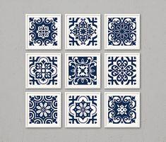 Blue digital tiles, PRINTABLE Navy and white geometric wall art prints, set of 9 modern indigo geometric posters, ornate wall decor, zip - ИЗРАЗЦЫ Geometric Poster, Geometric Wall Art, Tile Patterns, Print Patterns, Decoration, Art Decor, Blue Tiles, Cover Design, Tile Art