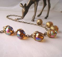 Woodland acorn thanksgiving necklace with vintage by shadowjewels