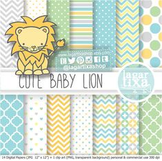 Lion Baby Shower Digital Paper patterns clip art I'ts a Boy soft yellow baby blue gray grey patterns invitations for party printables
