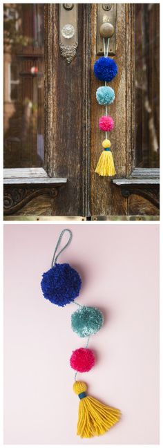 DIY Pom Pom Tassel DoorKnob DecorationI like Pom Pom DIYs...