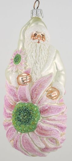 Patricia Breen Geberna Santa emerges from a Gerbera Daisy. A favorite ornament of mine, of course! Pink Christmas Ornaments, Pink Christmas Decorations, Santa Ornaments, Ornaments Design, Glass Ornaments, What Is Christmas, Christmas Past, Christmas Ideas, Pink Dishes