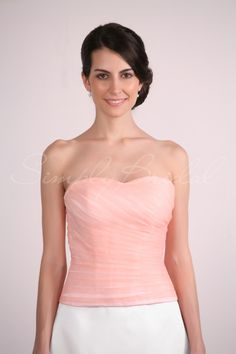 #84001 - Strapless Organza Top With Pleating - Separates - Simply Bridal