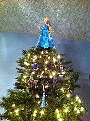 disneys frozen themed christmas tree with elsa tree topper