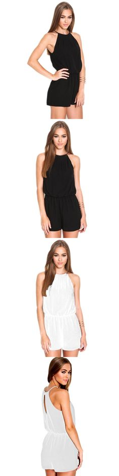 7227314865c 2017 Summer New Womens Playsuit Rompers Overalls Sexy Brand Casual Black  Sleeveless Halter Keyhole Playsuits