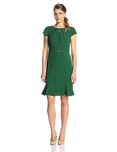 Ellen Tracy Women's Short Sleeve Keyhole Flare Bottom Dress