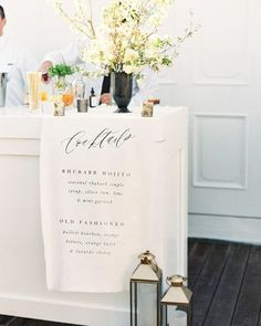 Martha Stewart Weddings How fun was this linen bar sign? Tequila Sunrise, Cocktail Menu, Signature Cocktail, Wedding Linens, Wedding Fabric, Wedding Paper, Wedding Dress, Wedding Signage, Wedding Menu