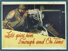 "Original US WWII Norman Rockwell Poster ""Let's Give Him Enough"" 1942, Framed"