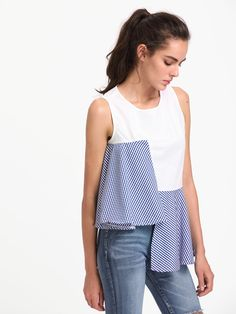 Contrast Gingham Asymmetrical Hem Keyhole Back Top Teen Girl Fashion, Girls Fashion Clothes, Teen Fashion Outfits, Cute Fashion, Fashion Pants, Plain Kurti Designs, Blouse Designs, Cute Girl Outfits, Simple Outfits