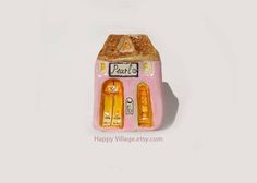 Jewelry Shop / Little Clay House / Happy Village artwork / Clay Houses / Miniature Houses / Little House / Small Shop