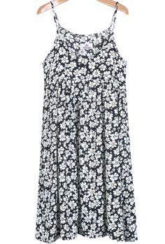 Black Spaghetti Strap Daisy Print Chiffon Dress US$26.67
