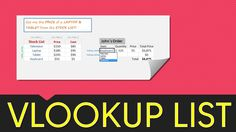 *** VLOOKUP Excel with a Drop Down List *** Download Workbook: http://myexcelonline.com/blog/vlookup-example-with-drop-down-list/ The Excel VLOOKUP function can become interactive and more powerful when applying a Data Validation List (drop down menu/list) as the Lookup_Value. So as you change your selection from the drop down list, the VLOOKUP value also changes.