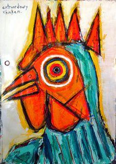 """Extraordinary Chicken"" acrylic/oil on archival paper 28"" x 40"" http://new.sesow.com chicken.jpg (655×928)"