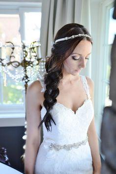 Rhinestone headband, White Sparkly Headband, Ribbon headband, Rhinestone Headwrap, Bridal Headband, Wedding Headband, Weddings, Accessories