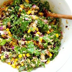 SPICY KALE AND QUINOA BLACK BEAN SALAD  Serves 4 INGREDIENTS 1 cup quinoa, uncooked 6 cups chopped kale, de-stemmed 1/2 red onion, chopped 1 can black beans, drained and rinsed 1 cup corn SPICY DRESSING 1/4 cup fresh cilantro, chopped 1 clove garlic, minced 1/4 cup fresh lime juice (about 2 limes) 1/4 cup hot sauce of your choice (I used a chili pepper sauce) 1/4 cup water 1 teaspoon maple syrup 1/2 teaspoon cumin sea salt and pepper, to taste  INSTRUCTIONS In a medium sized ...