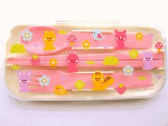 Cute Cutlery Set Spoon Fork Chopsticks Cute Animals Pink #bento #obento #lunch #cooking #kitchen #shopping #kids #Japan