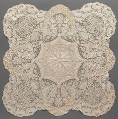 Handkerchief Maker: Convent of Notre Dame de Visitation Date: ca. 1865 Culture: Belgian, Ghent Medium: Cotton, bobbin lace