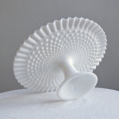 Vintage Hobnail Milk Glass Wedding Cake Stand by Fenton - Pedestal Cake Plate White Decor Milk Glass Cake Stand, Fenton Milk Glass, Vintage Cake Stands, Wedding Cake Stands, Antique Glassware, Cake Plates, Glass Collection, Colored Glass, Decoration