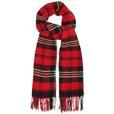 Womens Knitted Scarves Isabel Marant Étoile Carlton Red Plaid Wool... ($140) ❤ liked on Polyvore featuring accessories, scarves, tartan plaid scarves, fringe scarves, plaid shawl, red shawl and tartan shawl