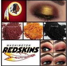 Washington Red Skins Football team using Younique Pigment eyeshadow Younique Eye Pigments, Pigment Eyeshadow, Eyeshadow Looks, 3d Fiber Lashes, 3d Fiber Lash Mascara, Younique Party Games, Redskins Fans, Redskins Gear, Redskins Football