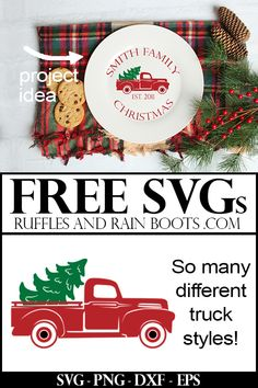There are so many free red, vintage Christmas truck SVGs and cut files here. I loved that she shared her designs and what she made, too! Christmas Truck, Christmas Svg, Christmas Images, Christmas Printables, Christmas Projects, Holiday Crafts, Vintage Christmas, Christmas Decorations, Christmas Ideas