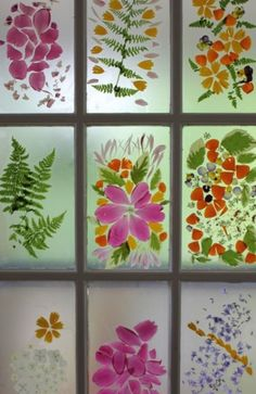 Contact paper, snips and bits from your garden.....or even cut out paper designs for your windows