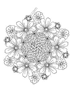 flower coloring page floral adult coloring page digital mandala pdf floral coloring botanical coloring page flower colouring sheet - Language Arts Coloring Pages