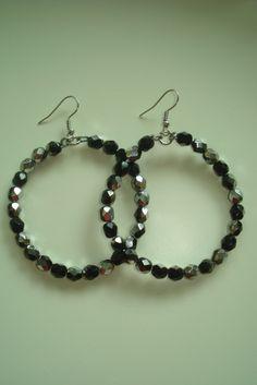 (40) Σκουλαρίκια κρίκοι με χάντρες μαύρες με ασημί