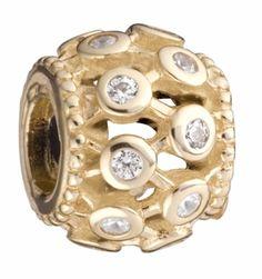 Gilded Sparkle Clear Cz 14k Gold Chamilia Bead