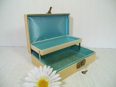 Shabby Chic Sea Foam Blue Satin Lined Ivory Jewelry Box - Retro Two Level Turquoise Blue Interior Display Case with Gold Trim & Original Key by DivineOrders