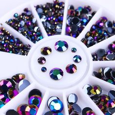 1mm-4mm AB Crystal 3D Nail Art Rhinestones Flat Bottom Manicure Decor Nail  Tips 1b06e9116734