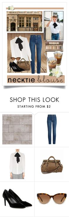 """""""White Necktie Blouse"""" by fernshadowstudio-com ❤ liked on Polyvore featuring Alexander McQueen, Miu Miu, Yves Saint Laurent and Michael Kors"""