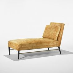 Paul McCobb, #5018 Brass and Lacquered Wood Chaise Longue for Directional, c1955.