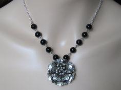Flower Necklace Black Rose Necklace Black by AdornmentsbyDebbie